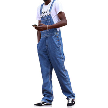 Men's Denim overalls New Blue retro High-waist Conjoined Denim overalls Men's Large size Overalls trousers raw hem denim overalls