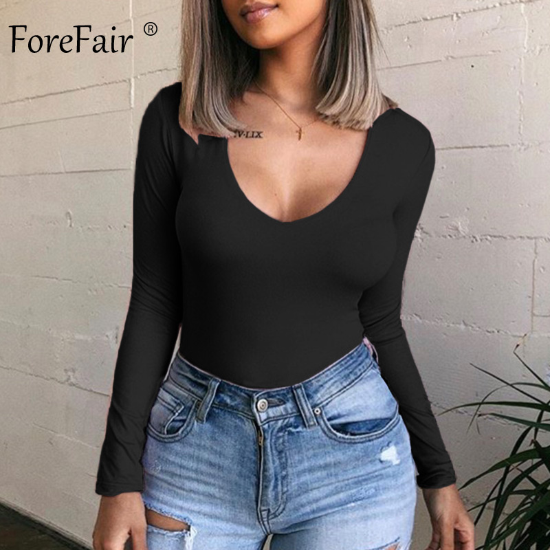 Forefair V Neck Solid Bodycon Bodysuit Women Rompers Autumn Body Tops Winter 2019 Slim Sexy Black Bodysuit