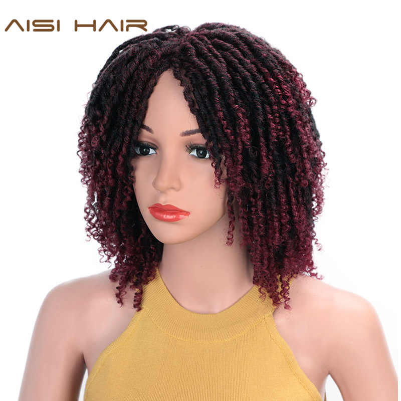 AISI HAIR Short Synthetic Wigs For Women 14'' Soft Dreadlocks Hair Wig Ombre Black Burg Crochet Braids Wigs Heat Resistant Wigs