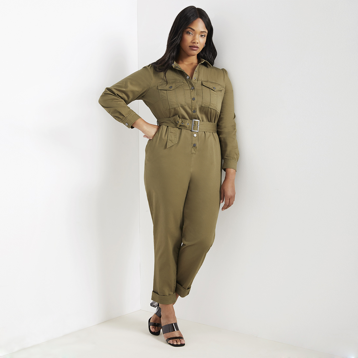 Plus Size Casual Button Detail Shirt Jumpsuit Women 2019 Roll Up Sleeve Tapered Jumpsuits Mid Waist Belted Tooling Jumpsuit