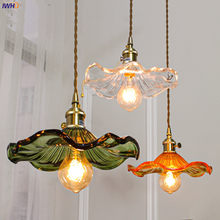 IWHD Nordic Style Simple LED Pendant Light Fixtures Bedroom Living Room Bar Colorful Glass Copper Hanging Lamp Lights Edison