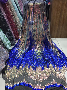 2020 African Net Lace Fabric High Quality Colorful Sequins Nigerian Wedding Lace Fabric 5Yards Sequins French Tulle lace LJY9020