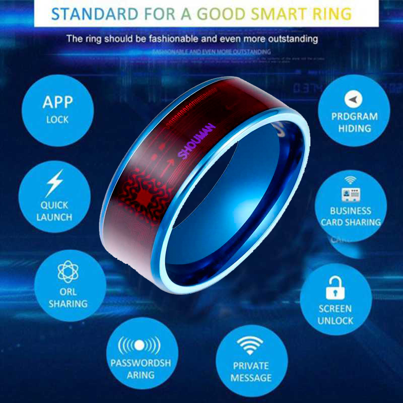 Fashion Men's Smart Ring Magic Wear NFC Ring Finger Digital Ring for Android phones with Functional Couple Stainless Steel Ring image