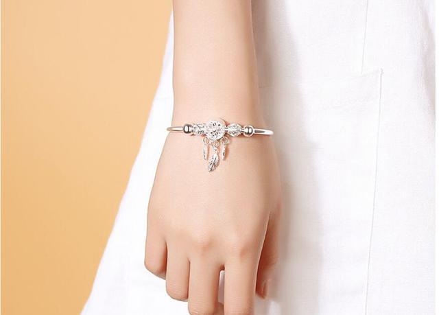 Adjustable 925 Sterling Silver Dreamcatcher Tassel Feather Round Bead Charm Bracelet &Bangle For Women Elegant Jewelry sl209 6
