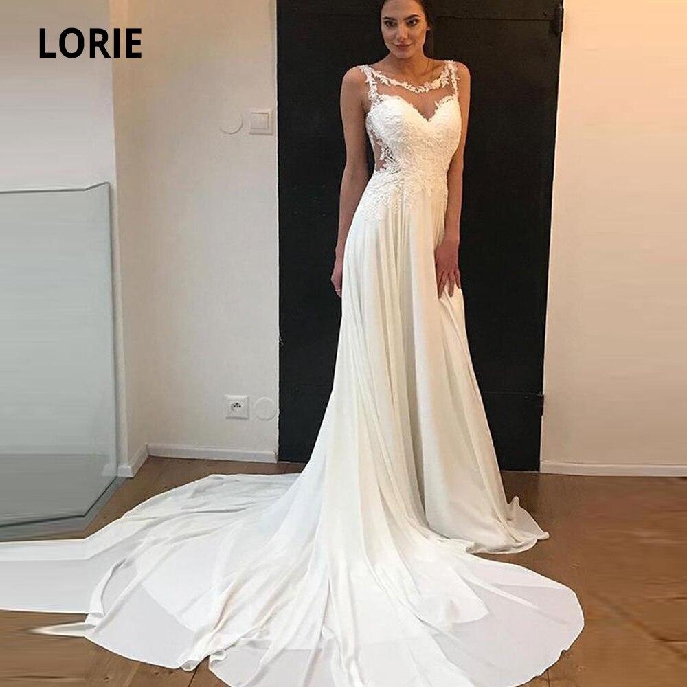 LORIE Sleeveless Chiffon Wedding Dresses Boho 2020 Lace Appliqued Beach Princess Bridal Gowns Plus Size Wedding Party Dress