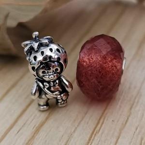 Image 5 - אמיתי 925 סטרלינג כסף תות דוב קסם חרוזים Fit מקורי מותג צמיד תכשיטי בציר חרוז להכנת תכשיטים