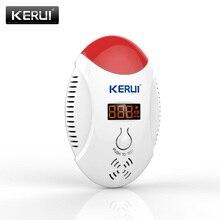 Kerui detector de vazamento sem fio com led, sensor digital co gás com alarme e aviso de som, pode funcionar com alarme de segurança gsm pstn