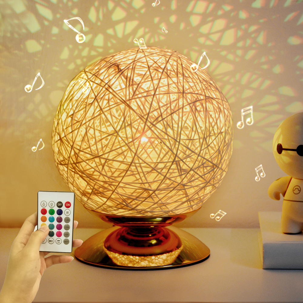 Globe Rattan Ball Bedside Table Lamp 5.9 Inch 7 Colors Music LED Nigth Light Perfect Gift For Bedroom Living Room Office Wedding