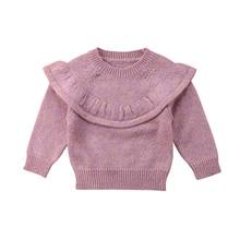 Осенне-зимний свитер, Одежда для новорожденных девочек, топы с оборками, теплый вязаный свитер, пальто, верхняя одежда
