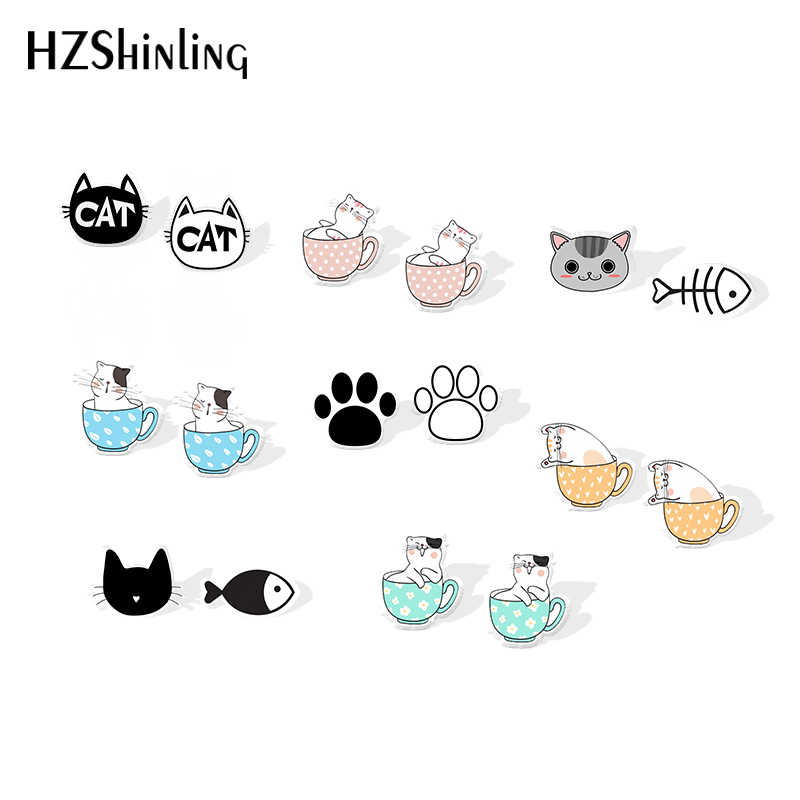 2019 New Black White Cat Acrylic Earring Cat And The Fish Accessory Earring Epoxy Stud Earrings Gilfts Women