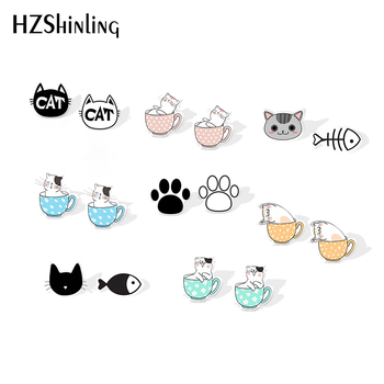 2019 New Black White Cat Acrylic Earring And The Fish Accessory Epoxy Stud Earrings Gilfts Women - discount item  35% OFF Fashion Jewelry