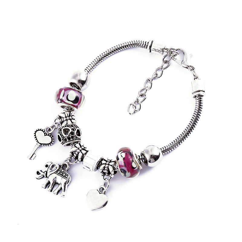 Colored beads initial bracelets for women Adjustable Bangle boho bracelet Charm pendant stainless steel jewelry wholesale