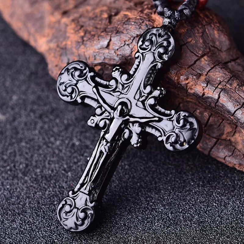 Natural Black Obsidian Beads Necklace Hand-Carved Cross Jesus Christianity Jade Pendant Fashion Charm Amulet Gifts Jewelry