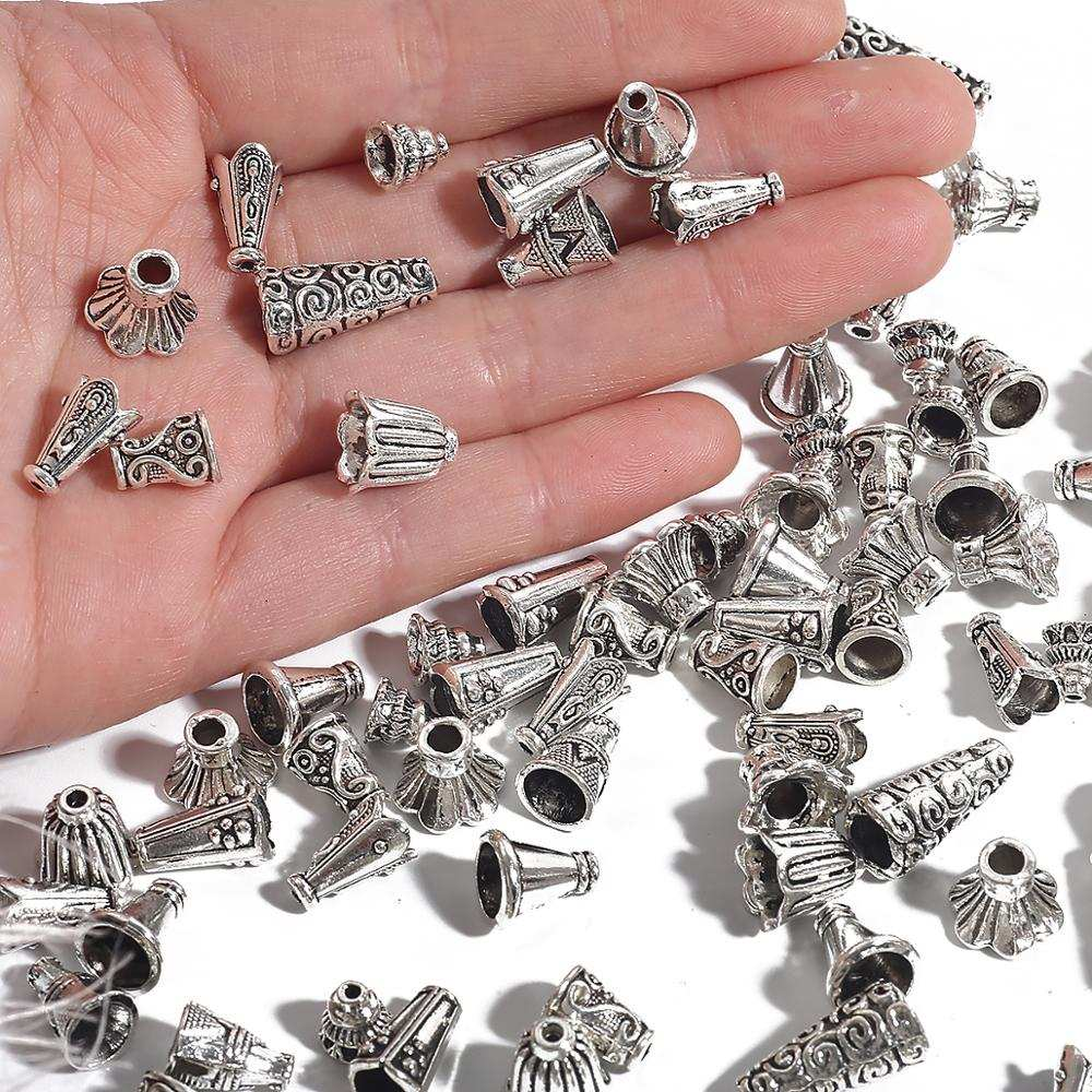 End-Caps Earrings-Accessories Spacer Flower-Bead Jewelry DIY Silver-Color 10pcs for Making-Needlework