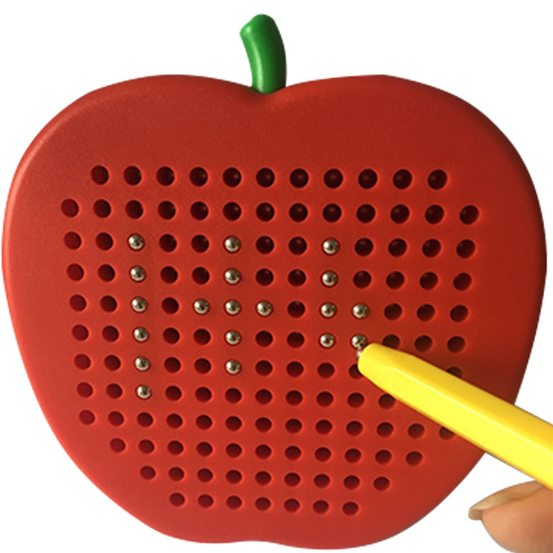 Qi Hui New Style Magnetic Steel Ball Sketchpad Magnetic Plastic Drawing Board Educational Toy Ci Tie Ban Little Apple OPP Bag