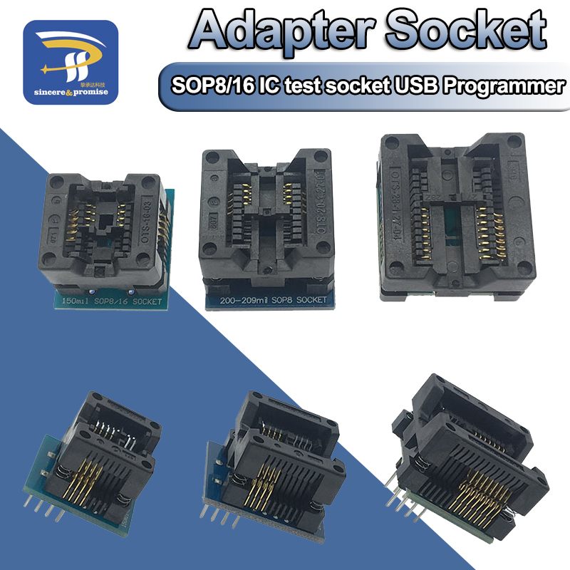 SOP16 to DIP8 Wide-body Seat Wide 150mil 200mil 208mil 300mil Programmer SOP8 Adapter Socket for EZP2010 EZP2013 CH341A IC test(China)