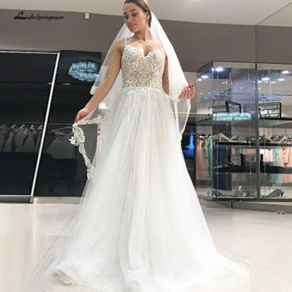 Lakshmigown A-Line Spaghetti Straps Backless White Beach Wedding Dress Lace Top Sexy Boho Bridal Wedding Gowns Robe Mariage 2020