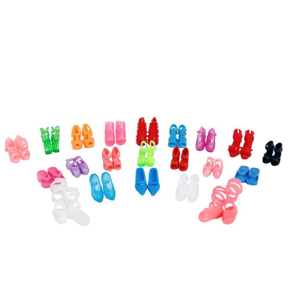 10 זוגות\חבילה צבעוני מעורב סגנון סנדלי עקבים גבוהים נעלי מיני צעצוע נעלי בובת בד בעבודת יד בובת אביזרי אקראי