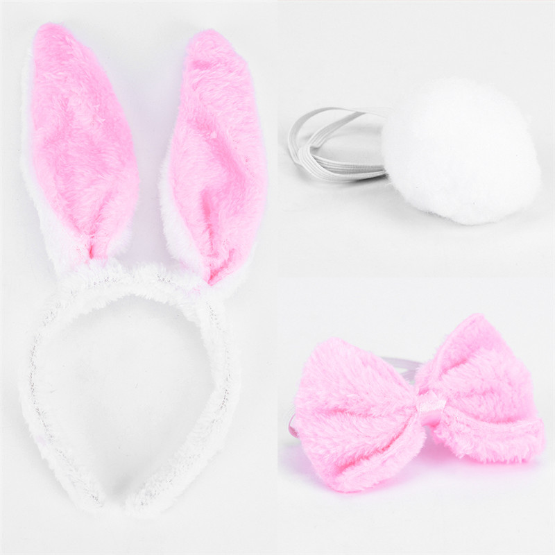 1 Set Girls Rabbit Bunny Ears Headband Tail Necktie Birthday Party Costume Prop Bath Shower Headwear Set