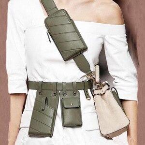 Image 2 - חדש עור מפוצל פאני חבילת מותן תיק חגורות אישה כתף תיק נייד טלפון חבילות חזה נשי ארנק Crossbody תיק