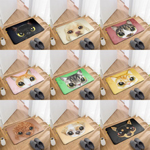 New Animal Flannel Doormat Cute Cartoon Cat Dog Face Carpet Kitchen Living Room Bathroom Non-Slip Mat Corridor Entrance PVC Rug