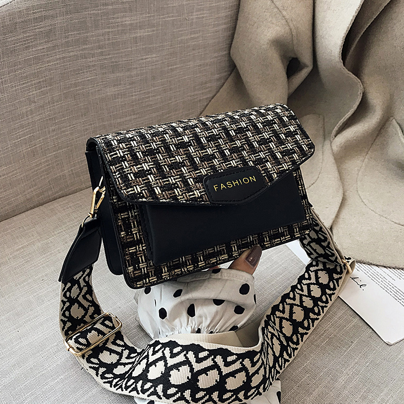 Fashion Handbag European Style Weaving PU Leather Women's Small Square Bag Casual Solid Color Wide Shoulder Strap Crossbody Bag
