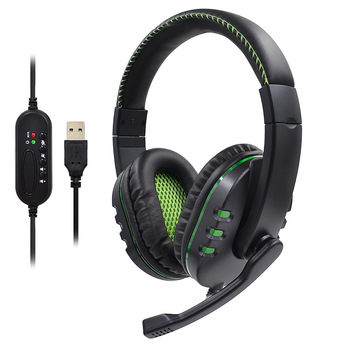 Double - sided big headphone headphone game headphone with LED light wired headphone microphone for XBOX ONE/PC фото