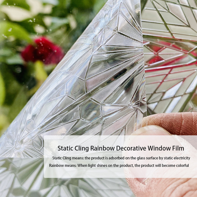 Privacy Stained Window Film Non-Adhesive Frosted Decorative Glass Film Static Cling Rainbow Window Stickers for Home 2