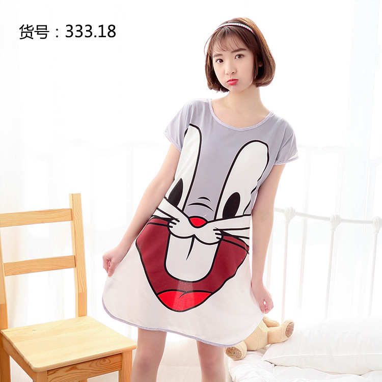 Summer New Style Nightgown GIRL'S Casual Cartoon Pullover Thin Nightgown Wen Hua Qun Qmilch Printed Dress