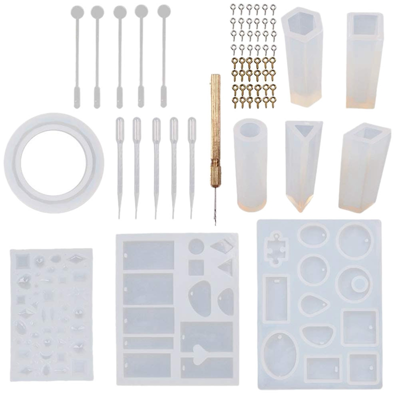 New 68Pcs Jewelry Casting Molds DIY Bracelet Pendant Epoxy Mold Set For Jewelry Pendant Craft Making Silicone Molds With Stirrer