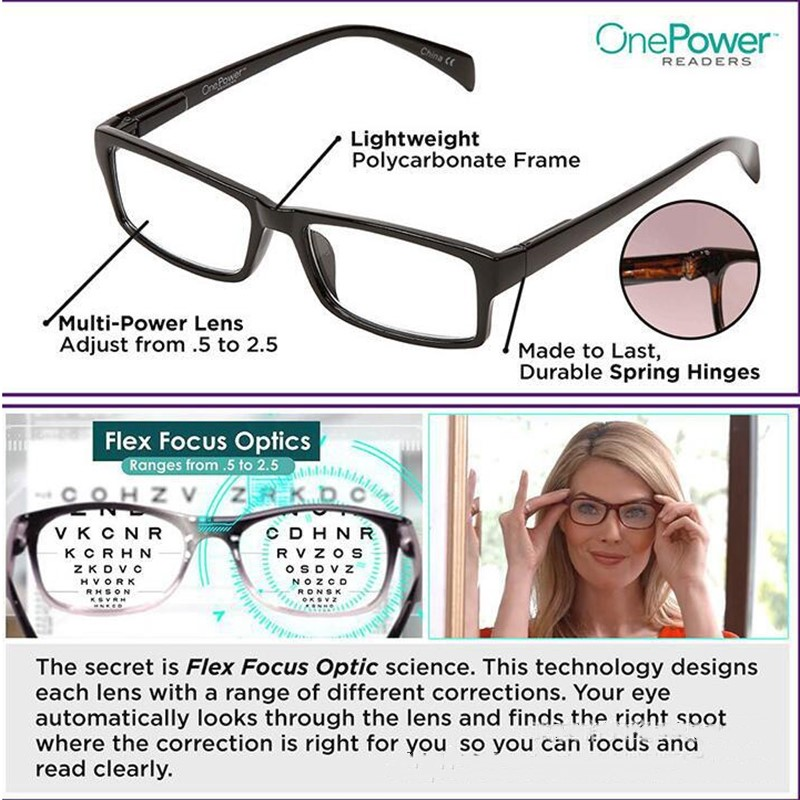2019 Newest Mulifocal One Power Readers High Quality Women Men Auto Adjusting Bifocal <font><b>Reading</b></font> <font><b>Glasses</b></font> +50 To +250 Freeshipping image