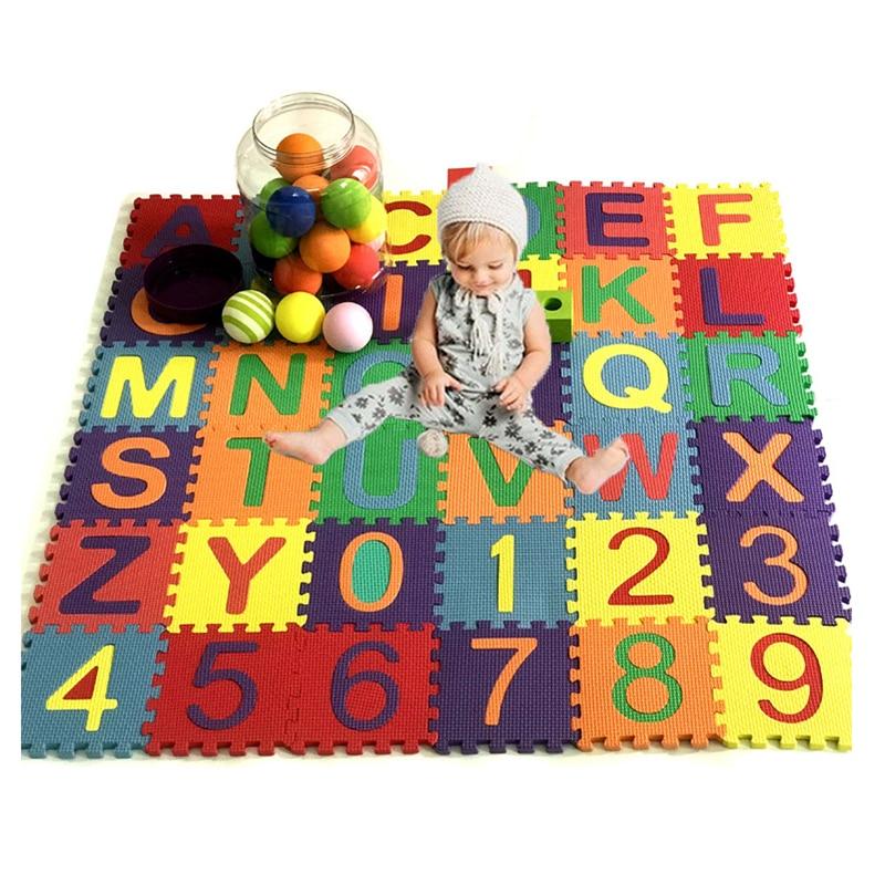 36 pcs/영숫자 패턴 개/대 놀이 매트 어린이 교육 완구 어린이 EVA 폼 요가 크롤 링 매트 바닥 Playmat