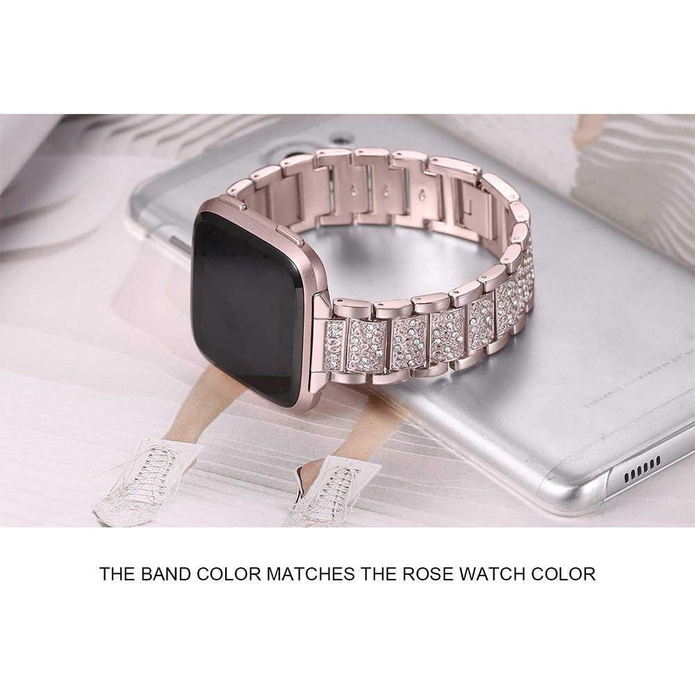 Correa de diamante para Fitbit Versa, correa de acero inoxidable, pulsera de mujer para fitbit lite/versículo 2, accesorios de banda