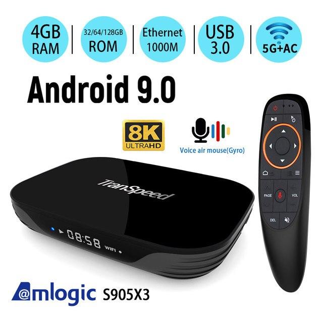 Amlogic S905X3 Android 9,0 TV Box 4GB 32GB 64GB 128G 2,4G & 5,8 Gwifi 4K 8K 24fps Bluetooth Stimme Assistan Set Top Box