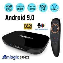 Amlogic S905X3 Android 9.0 TV Box 4GB 32GB 64GB 128G 2.4G&5.8Gwifi 4K 8K 24fps  Bluetooth Voice Assistan  Set Top Box