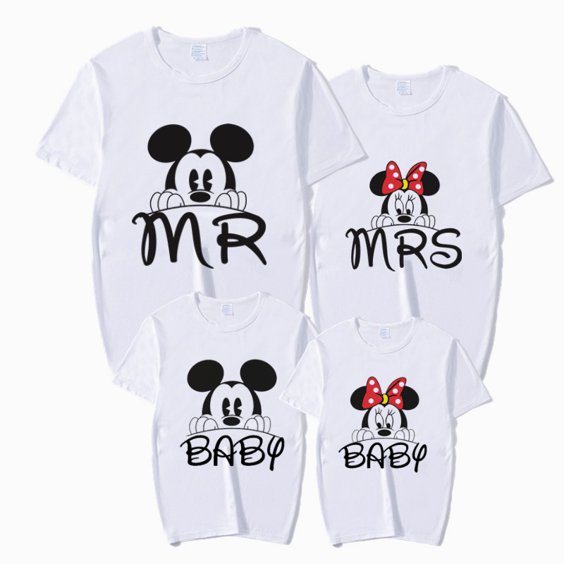 Family MR MRS BABY Shirts Mouse Print Matching Outfits T-Shirt Mommy Daddy Son Baby Girl Family Clothes Child T-Shirt
