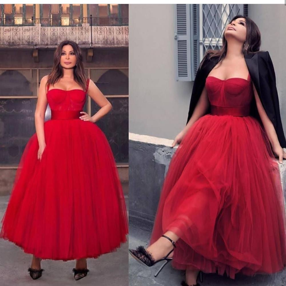 2019 New Red Spaghetti Strap A-line  Length Evening Dress  Sexy Sweetheart Muslim Saudi Arabic Women Party Gowns Formal Gown