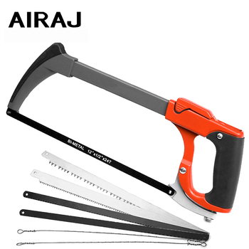 AIRAJ Upgrade Hacksaw Frame Detachable Alloy Frame Household Large Powerful Cutting Manual Tool With 6 Saw Blades