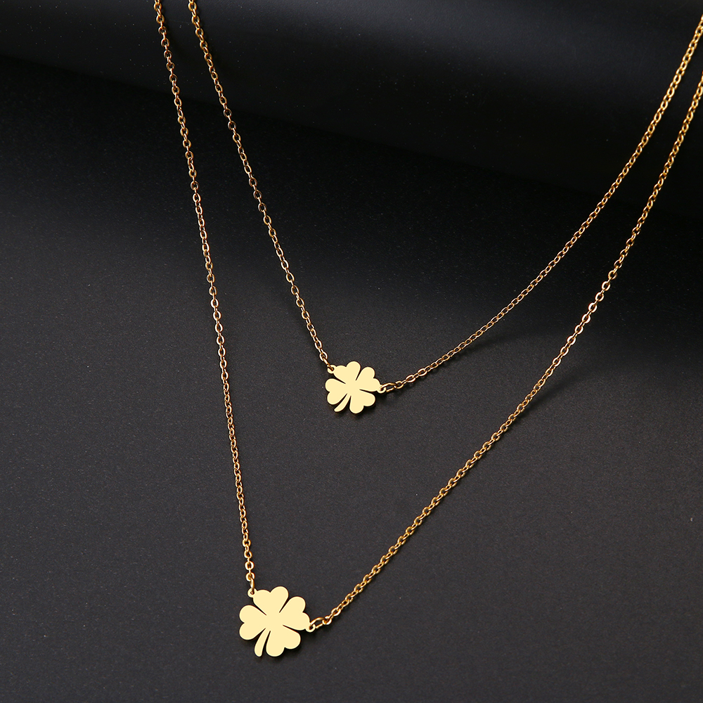 DOTIFI For Women Double Lucky Clover Cross Necklace Stainless Steel Gold and Silver Jewelry Gift(China)
