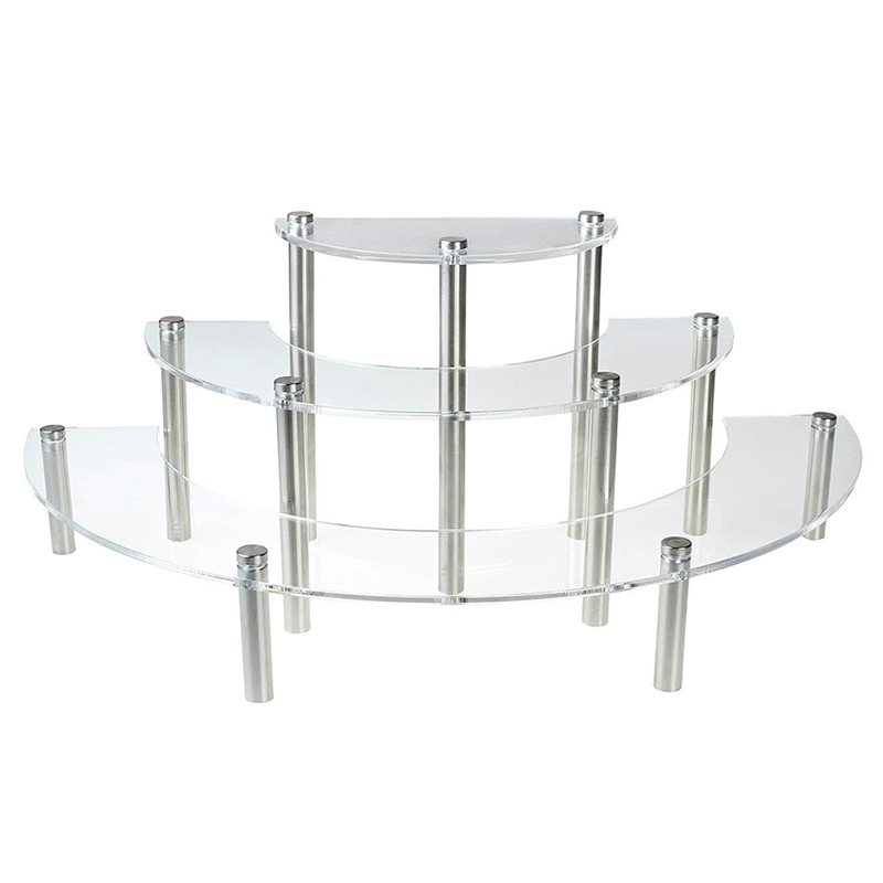 HHO-3-Tier Clear Acrylic Semicircle Round Cupcake Dessert Display Stand