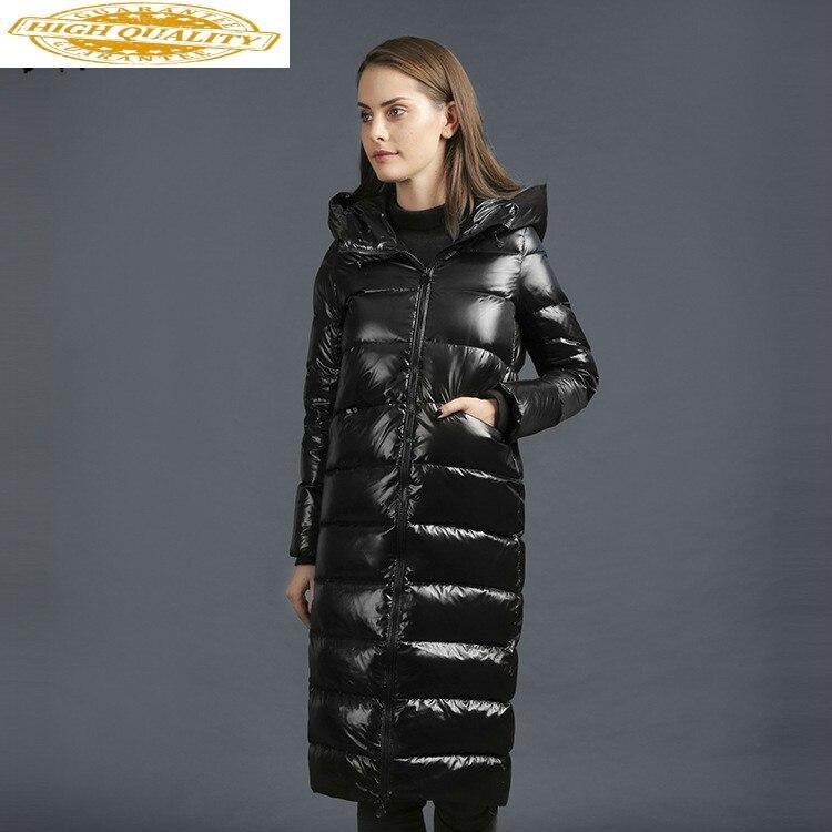 2020 New Puffer Jacket Women White Duck Down Winter Coat Women Jacket Hooded Slim Warm Parka Long Veste Femme A8019 YY1547