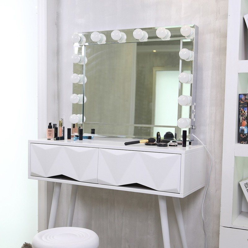 Large Hollywood Mirror With Light Table Tops Lighted Mirror With Dimmer Mirror With Lighting Adjustable Touch Screen Mirrors