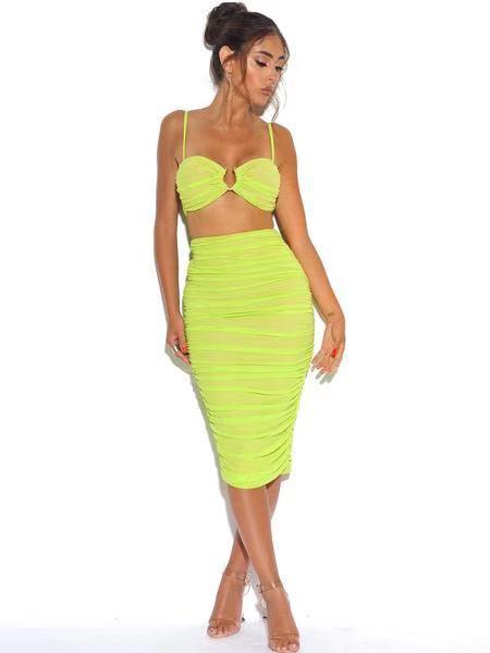 Jupe et haut en maille Stretch vert fluo avec anneau central froncé en ORGANZA, maille, 2 pièces, robe bandage, robe de soirée pour femme