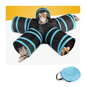 Складные игрушки для кошек, туннелей, 5 отверстий, складная трубка, для дома, для улицы, для обучения кошек, интерактивные игрушки для котят, щ...