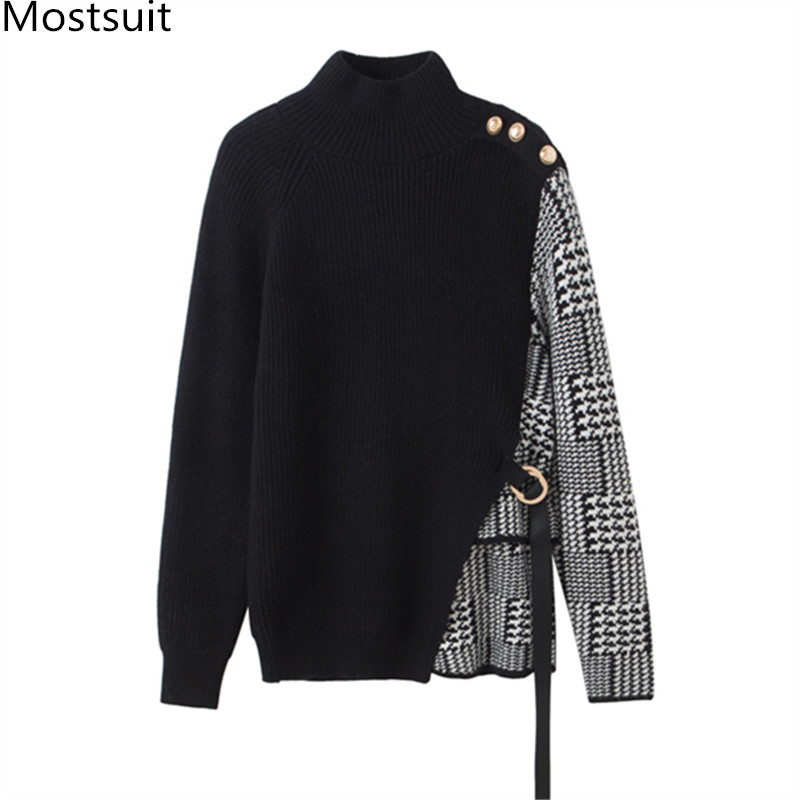 Women Houndstooth Patchwork Pullover Sweater Women Full Sleeve Half-turtleneck Buttons Korean Fashion Office Tops Sweaters 2020