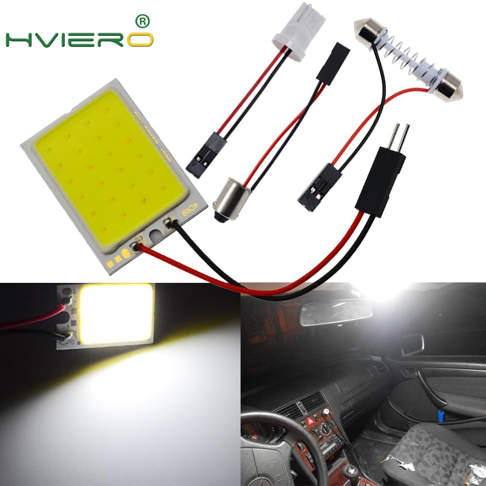 2X White Red Blue 24 Smd T10 W5W Cob Panel Auto Interior Reading Map Lamp Bulb Light Dome Festoon BA9S 3Adapter DC 12v  Led