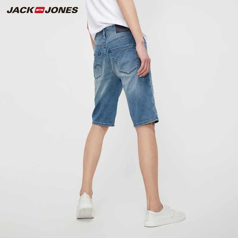 JackJones גברים למתוח כותנה ג 'ינס קצר בלוי שתוקנה ינס מכנסיים גברים Streetwear סגנון | 219243509