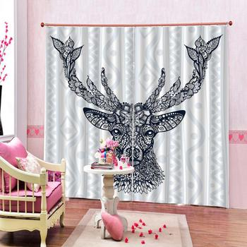 Europe Style Deer Pattern Window Curtain for living room bedroom blackout curtains luxury stereoscopic curtains