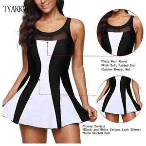 Image 1 - Tankini strój kąpielowy kobiety spódnica pływacka Plus rozmiar jednoczęściowy stroje kąpielowe z nadrukiem 2020 Tankini Femme Vintage duży rozmiar Swim Mesh Beach wear