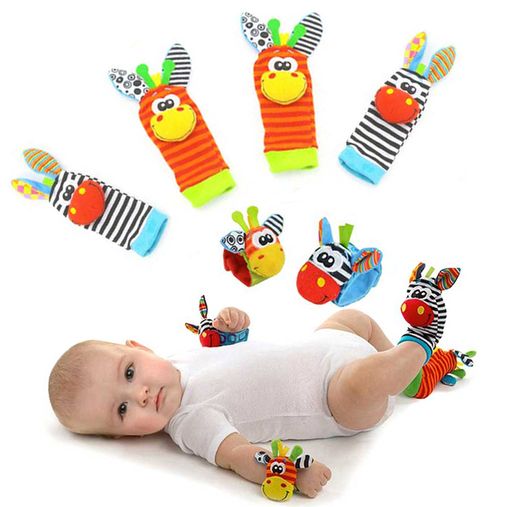 Children's Socks Cartoon Baby Toy Wrist Strap Socks Animal Plush Rattles Children's Toys Newborn Foot Finder Sock Newborn Rattle